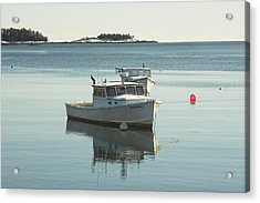 Maine Lobster Boats In Winter Acrylic Print by Keith Webber Jr