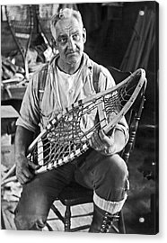 Maine Man Makes Snowshoes Acrylic Print by Underwood Archives