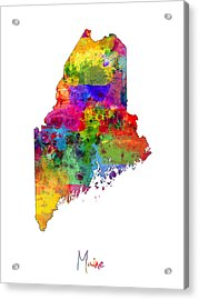 Maine Map Acrylic Print