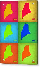 Maine Pop Art Map 1 Acrylic Print by Naxart Studio