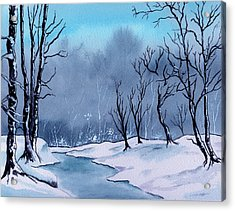 Maine Snowy Woods Acrylic Print