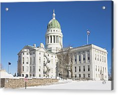 Maine State Capitol Building In Winter Augusta Acrylic Print by Keith Webber Jr