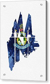 Maine Typographic Map Flag Acrylic Print
