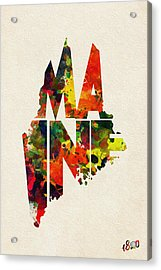 Maine Typographic Watercolor Map Acrylic Print by Ayse Deniz