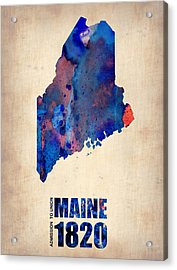 Maine Watercolor Map Acrylic Print by Naxart Studio