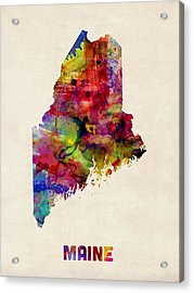 Maine Watercolor Map Acrylic Print by Michael Tompsett