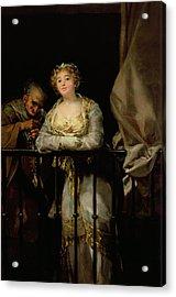 Maja And Celestina On A Balcony, 1805-12 Oil On Canvas Acrylic Print