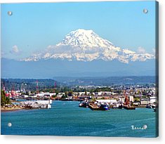 Majestic Mt Rainier And Pt Of Tacoma Wa Acrylic Print