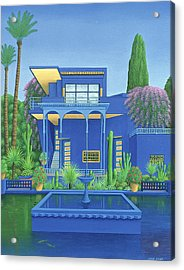 Majorelle Gardens, Marrakech, 1996 Carylic On Linen See 186509 Acrylic Print by Larry Smart