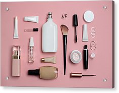 Makeup Bag With Variety Of Beauty Products Acrylic Print by Emilija Manevska