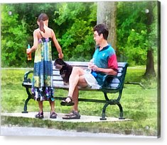 Making A New Friend In The Park Acrylic Print by Susan Savad