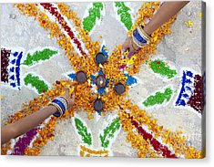 Making Rangoli With Flower Petals And Oil Lamps Acrylic Print