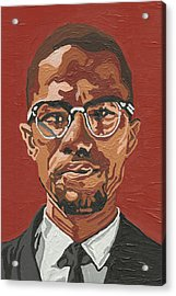 Acrylic Print featuring the painting Malcolm X by Rachel Natalie Rawlins