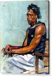 Male Figure Sitting Acrylic Print by Stan Esson