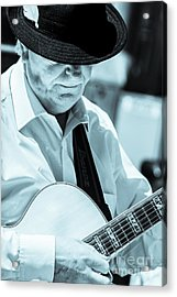 Male In Alpine Hat Playing Guitar Acrylic Print