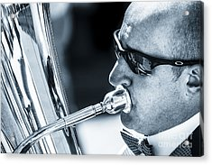 Male In Sunglasses Blowing Mouthpiece Of Tuba Acrylic Print