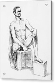 Male Model Seated Charcoal Study Acrylic Print