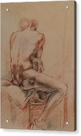 Acrylic Print featuring the drawing Male Nude 1 by Becky Kim