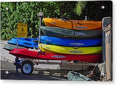 Acrylic Print featuring the digital art Malibu Kayaks by Gandz Photography