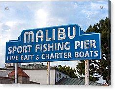 Malibu Pier Sign Acrylic Print by Art Block Collections