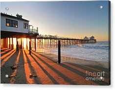 Malibu Pier Sunburst Acrylic Print