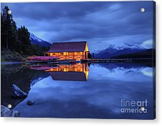 Maligne Lake Boat House Before Dawn Acrylic Print by Dan Jurak