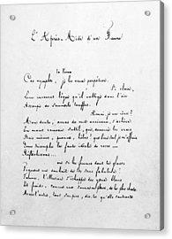 Mallarm� Manuscript, C1865 Acrylic Print