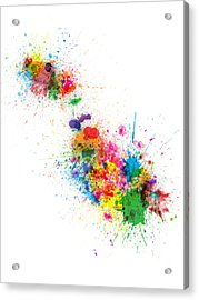 Malta Map Paint Splashes Acrylic Print