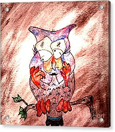 Mama Owl Acrylic Print by Donna Daugherty