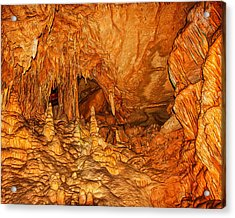 Mammoth Cave Stalactites And Stalagmites Acrylic Print by John M Bailey