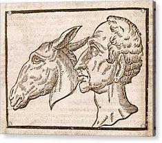 Man And Ass's Head Acrylic Print