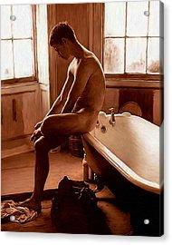 Man And Bath Acrylic Print by Troy Caperton