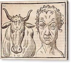 Man And Bull's Head Acrylic Print