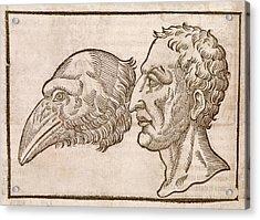 Man And Crow's Head Acrylic Print