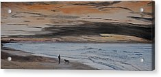 Acrylic Print featuring the painting Man And Dog On The Beach by Ian Donley