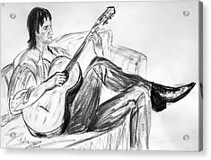 Man And Guitar Acrylic Print by Asha Carolyn Young