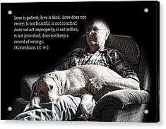 Man And His Dog At Rest 1cor.13v4-5 Acrylic Print