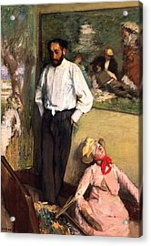 Man And Puppet Acrylic Print by Edgar Degas