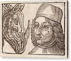 Man And Rhino's Head Acrylic Print