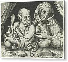 Man And Woman Eating Porridge, Nicolaes De Bruyn Acrylic Print by Nicolaes De Bruyn And Assuerus Van Londerseel