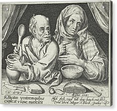 Man And Woman Eating Porridge, Nicolaes De Bruyn Acrylic Print by Nicolaes De Bruyn And Claes Jansz. Visscher (ii)