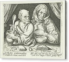 Man And Woman Eating Porridge, Nicolaes De Bruyn Acrylic Print by Nicolaes De Bruyn And Pieter Goos