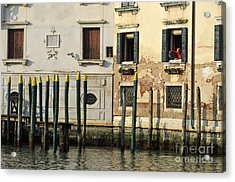 Man At Window By Piers In Venice Acrylic Print by Sami Sarkis