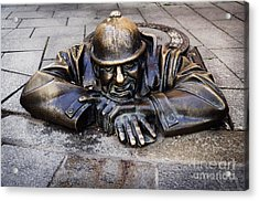 Man At Work In Bratislava Acrylic Print by Jelena Jovanovic