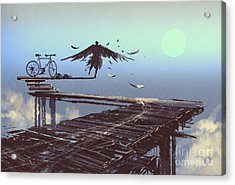 Man Becomes Bird Standing On End Of Acrylic Print by Tithi Luadthong