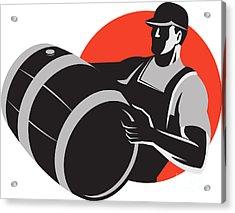 Man Carrying Wine Barrel Cask Keg Retro Acrylic Print by Aloysius Patrimonio