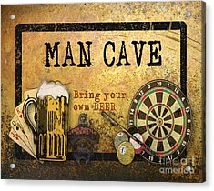 Man Cave-bring Your Own Beer Acrylic Print by Jean Plout