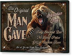Man Cave Grizzly Acrylic Print by JQ Licensing