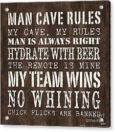 Man Cave Rules 1 Acrylic Print by Debbie DeWitt