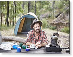 Man Cooking And Camping In Australian Bush Acrylic Print by Stuart Miller
